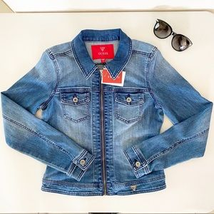 GUESS DESIRE DENIM ZIP FRONT JACKET